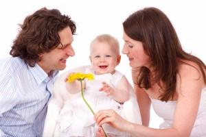 Familie mit Blume