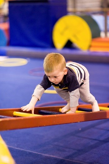Small Boy Climbing Ladder on Obstacle Course