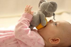 Baby kaut auf Spielzeug, liegend