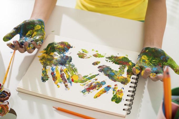Multicolored hand prints