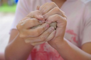 pottery child hands