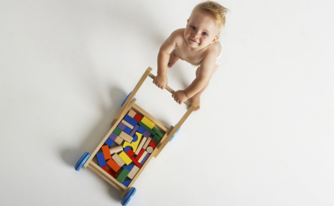 Baby Pushing Cart With Building Blocks