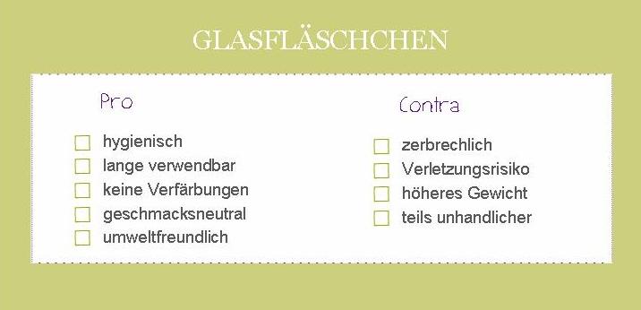 Glasfläschen Tabelle