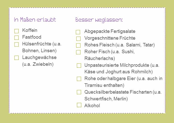 Checkliste Ernährung
