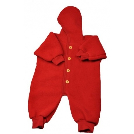 Flauschig weicher roter Baby-Overall
