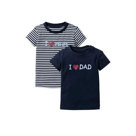 Baby T-Shirt (2er-Pack) I love Dad & Mum